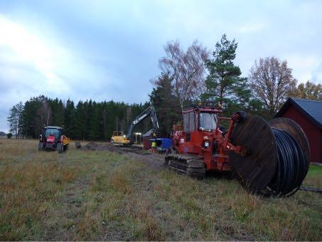 Traktor, grävmaskin och en bandtraktor med en stor kabeltrumma med svart slang står på en åker. Bakom dem ser man granskog och till höger skymtar ett rött uthus med svart plåttak.